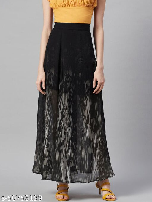 I AM FOR YOU Women Black & Grey Abstract Printed Semi-Sheer Flared Maxi Skirt