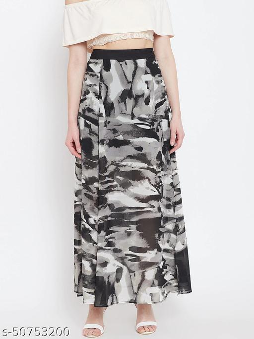 I AM FOR YOU Women Black & Grey Printed Maxi Skirt