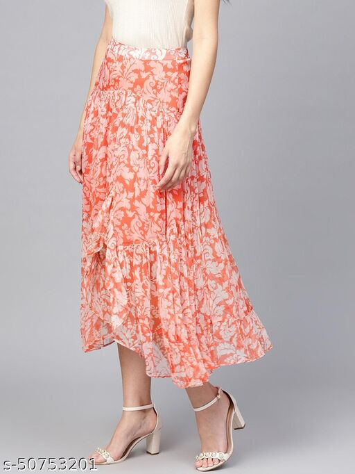I AM FOR YOU Women Orange Pink & Off-White Printed Asymmetric Tiered Midi Skirt