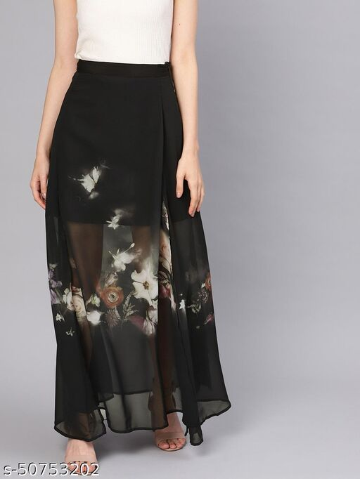 I AM FOR YOU Women Black & Off-White Printed A-Line Maxi Skirt
