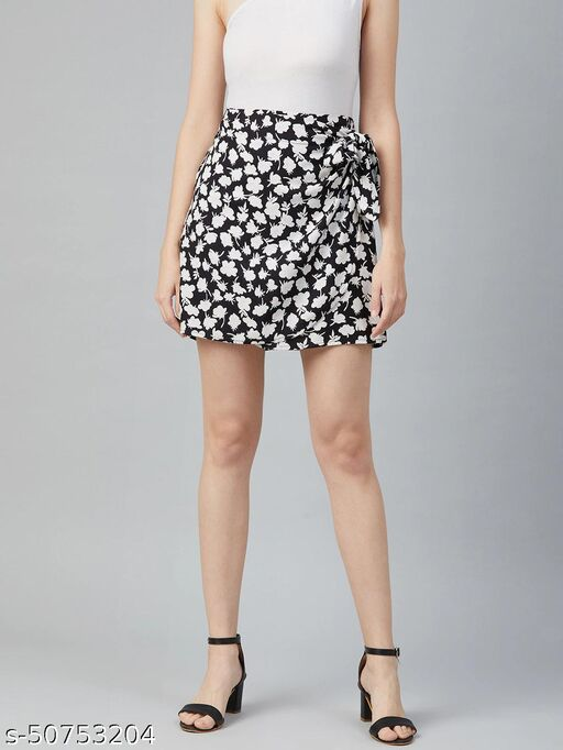 I AM FOR YOU Women Black & White Floral Printed Wrap Mini Skirt