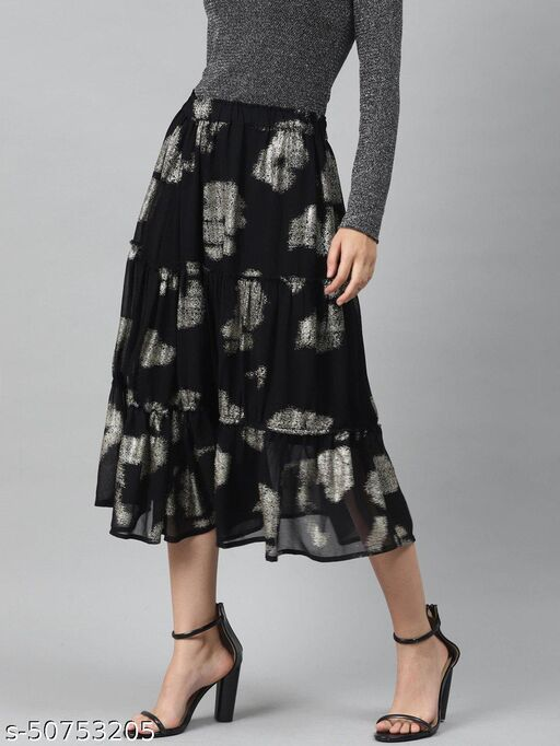 I AM FOR YOU Women Black & Silver Printed A-line Tiered Midi Skirt
