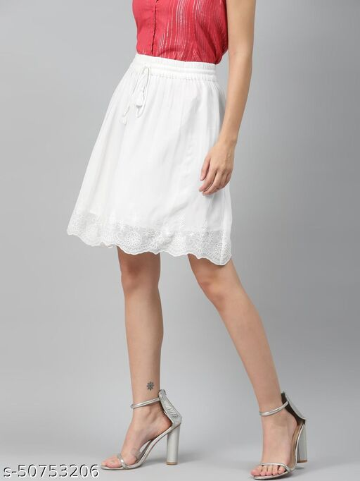 I AM FOR YOU Women White Solid Flared Knee Length Skirt