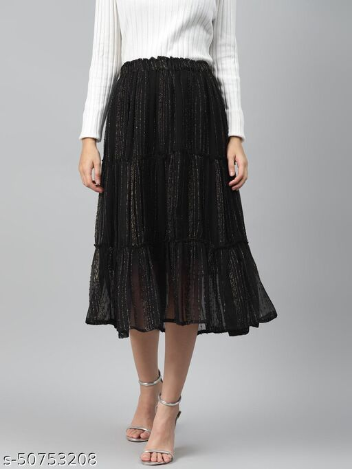 I AM FOR YOU Women Black & Golden Self-Striped Tiered Midi Skirt