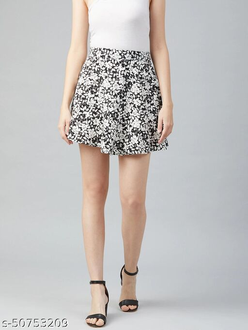 I AM FOR YOU Women Black & White Floral Printed A-Line Mini Skirt