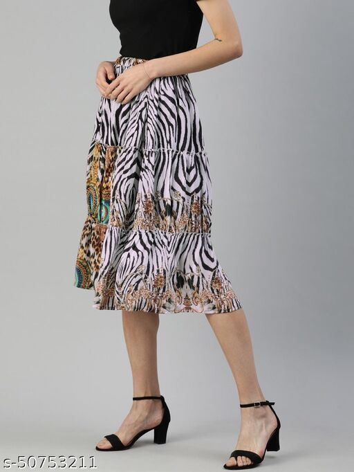 I AM FOR YOU Women Black & White Tiger Printed Tiered Skirt