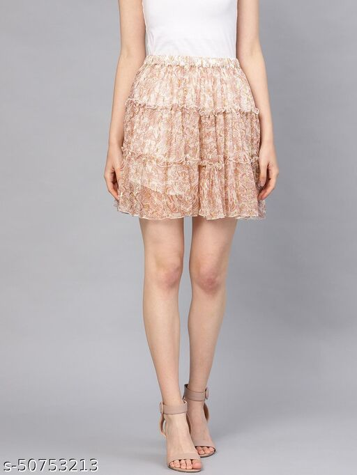 I AM FOR YOU Women Beige & Maroon Printed Tiered Flared Skirt