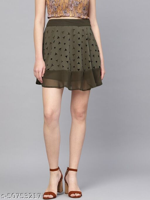 I AM FOR YOU Women Olive Green Cut Work Detail Skirt