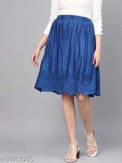 I AM FOR YOU Women Blue Solid Flared Skirt