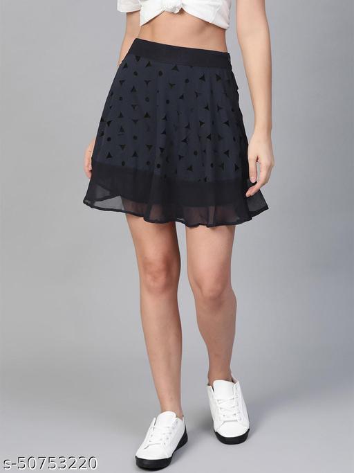I AM FOR YOU Women Navy Blue Laser Cut Detail A-Line Skirt