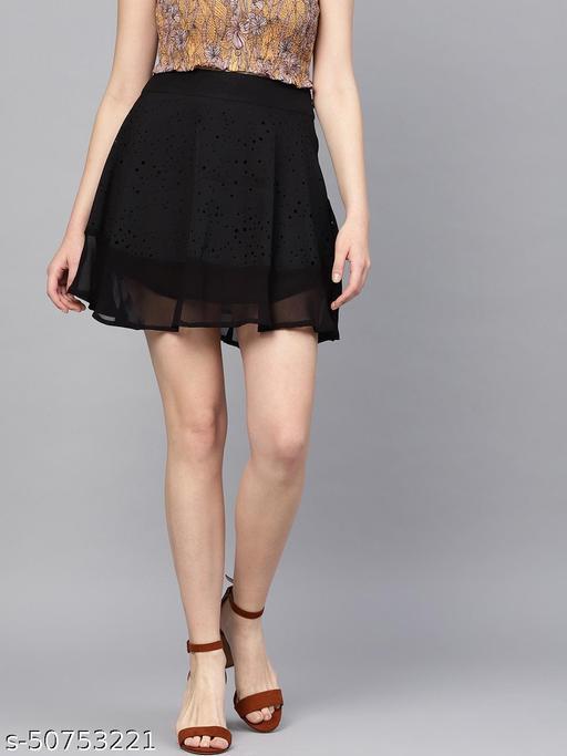 I AM FOR YOU Women Black Self-Design Flared Mini Skirt