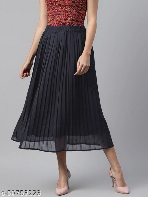 I AM FOR YOU Women Navy Blue Solid Accordion Pleated A-Line Midi Skirt