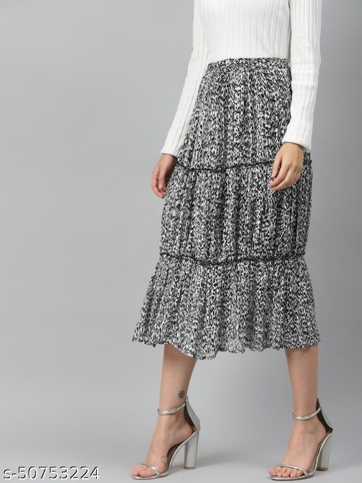 I AM FOR YOU Women Black & White Animal Print A-line Tiered Midi Skirt