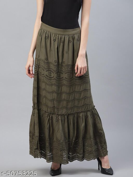 I AM FOR YOU Women Olive Embroidered Tiered Ankle Length Skirt