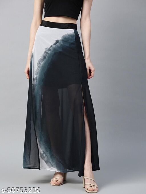 I AM FOR YOU Women Teal Blue & Off-White Semi-Sheer Dyed Maxi A-line Dress
