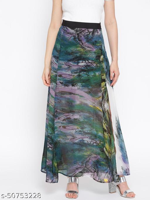 I AM FOR YOU Women Green & Purple Printed Semi-Sheer Maxi Flared Skirt