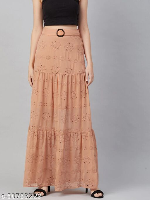 I AM FOR YOU Women Peach-Coloured Self Design Schiffli Tiered Maxi Skirt