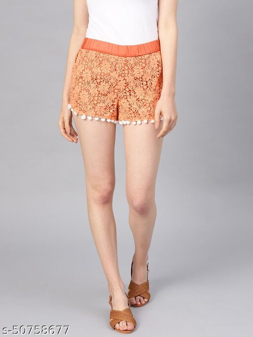 I AM FOR YOU Women Peach-Coloured Lace Regular Fit Regular Shorts