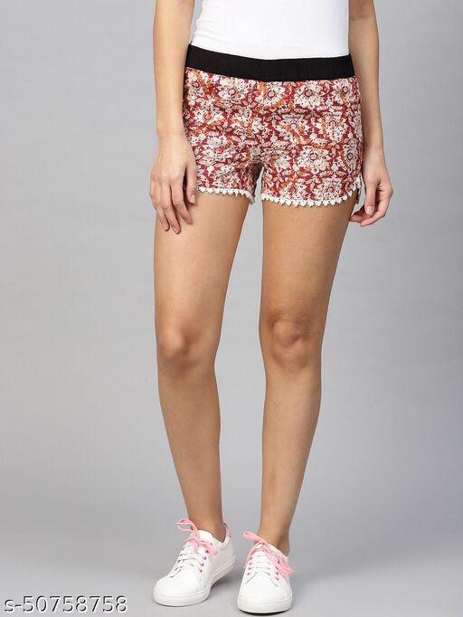 I AM FOR YOU Women Red & Off-White Printed Regular Fit Hot Pants