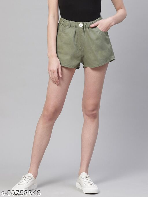 I AM FOR YOU Women Olive Green Solid Hot Pants