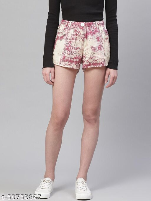 I AM FOR YOU Women Cream-Coloured & Pink Ethnic Printed Hot Pants