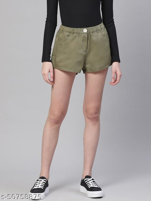 I AM FOR YOU Women Olive Green Solid Regular Shorts