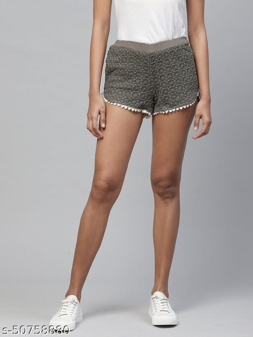 I AM FOR YOU Women Olive Green Lace Regular Fit Hot Pants