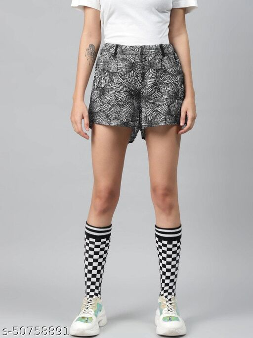 I AM FOR YOU Women Black & White Printed Regular Shorts
