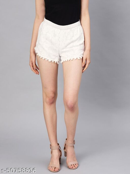 I AM FOR YOU Women White Self Design Regular Fit Regular Shorts