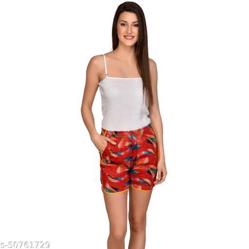 U-Light Kavya Printed Women'S & Gilr'S Red Print Shorts