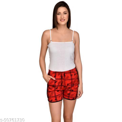 U-Light Kavya Printed Women'S & Gilr'S Red/Black Shorts