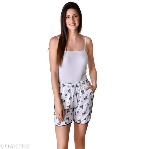 U-Light Kavya Printed Women'S & Gilr'S White And Black Shorts