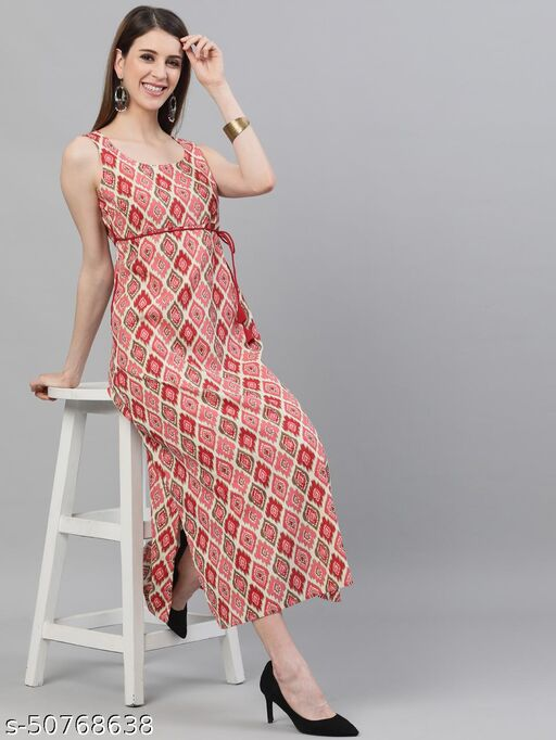 Red Ikat Printed A-Line Maxi