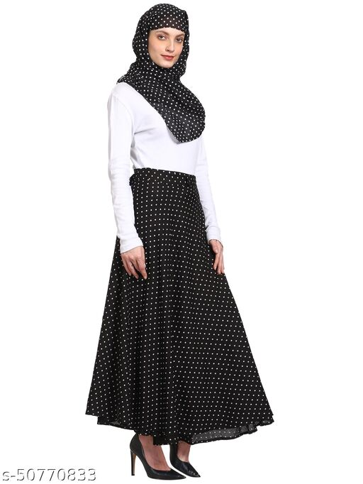 skirt hijab set wrap around skirt for women free size Polka