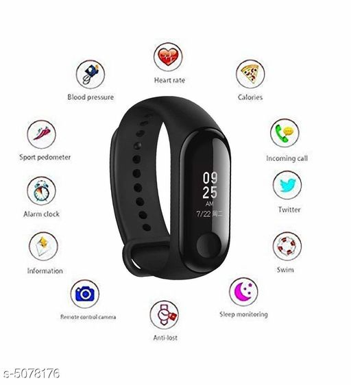 Smart watches Unique Solid Fitness Band  *Product Type * Fitness Bands  *Model * M3  *Material * Plastic & Silicone  *Size * Free Size  *Type* Fitness Band  *Connectivity* Bluetooth  *Compatibility* iOS / Android  *Feature * Heart Rate Monitor , Calories Tracker , Step Count , Whats-app Notification , Facebook Notification  *Description* It Has 1 Piece Of Smart Fitness Band  *Sizes Available* Free Size   Supplier Rating: ★3.1 (21) SKU: m3-02 Free shipping is available for this item. Pkt. Weight Range: 200  Catalog Name: Unique Solid  Fitness Bands Vol 3 - Fabtrolley Code: 036-5078176--