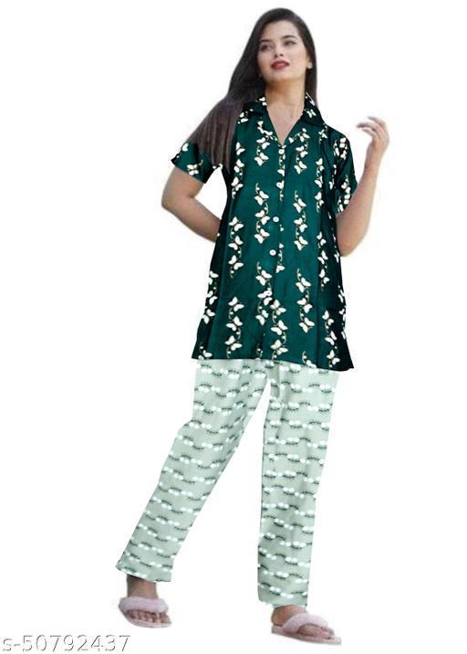 Women Rayon Night Wear Printed Night Suit