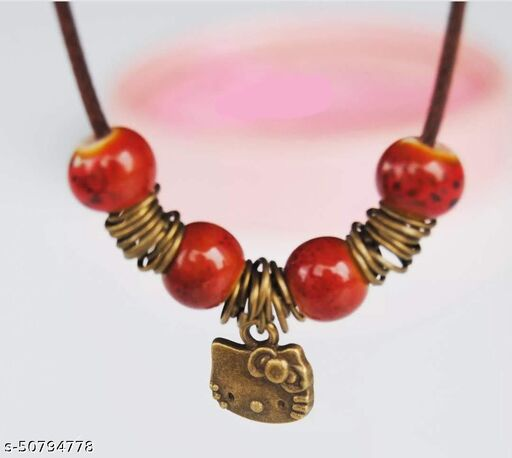 Porcelain beads Necklace with Cute Pendant--Red
