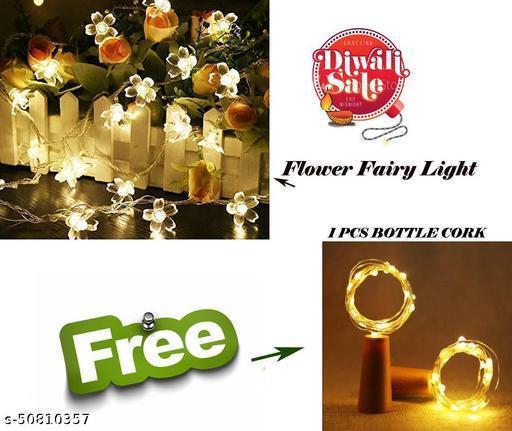 ARNAH TREASURE Flower Fairy String Lights for Indoor Outdoor Decoration  Light for Diwali ,Christmas, Navratri ,Valentine With Free  1 pcs Bottle Cork Copper Wire light (Flower light  + Free 1 cork light )