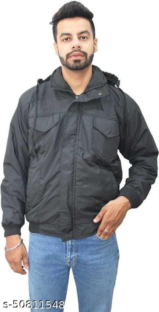 Mens Full Sleeves Colourblock Fur Padded Jacket For Winter