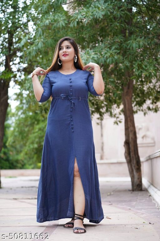 WOMEN LATEST & FASHIONABLE PRINTED BLUE GOWN
