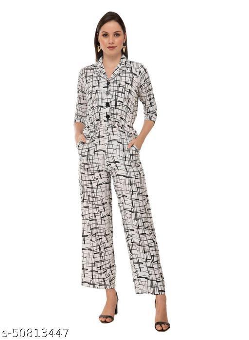 Taaraa Women's Crepe Printed Maxi Jumpsuit