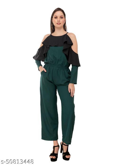 Taaraa Women's Crepe Green Solid Casual Jumpsuit