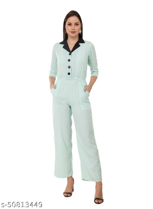 Taaraa Women's Crepe Turquoise Blue Solid Casual Jumpsuit