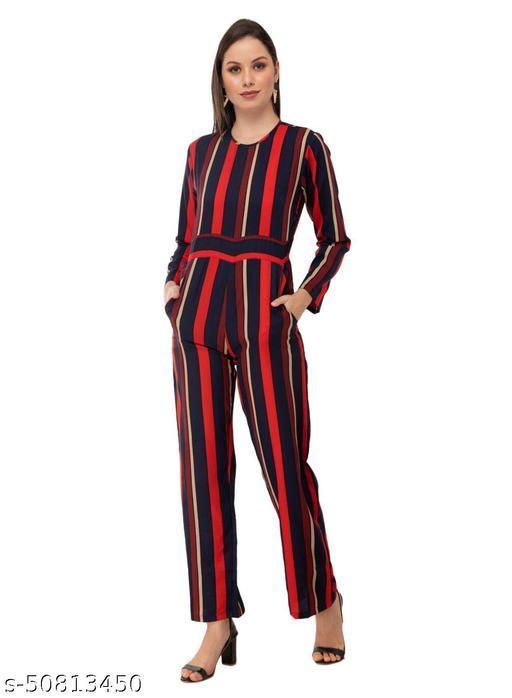 Taaraa Women Blue Color Stripe Printed Crepe Jumpsuit