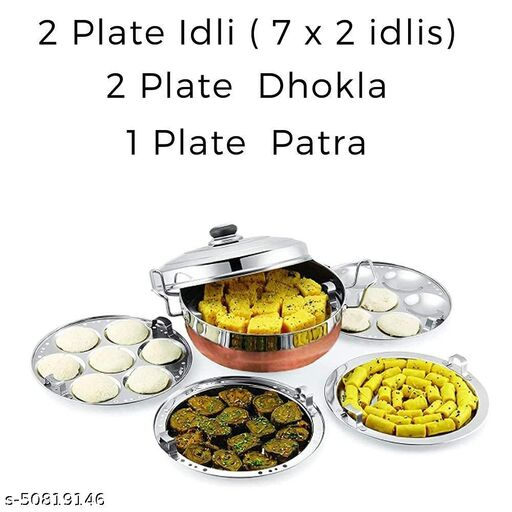 NILKANTH SOLUCTION Stainless Steel Idli Cooker Multi Kadai Steamer with Copper Bottom All-in-One Big Size 5 Plate 2 Idli | 2 Dhokla | 1 Patra | Momo's |
