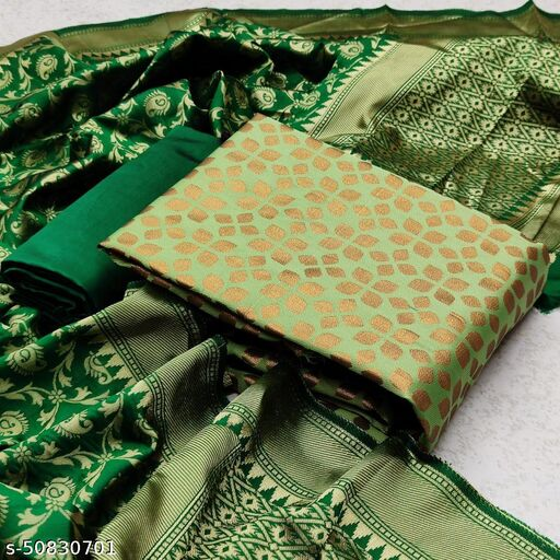 DHARMIK FASHION Banarasi women jacquard cotton silk woven designer dress material