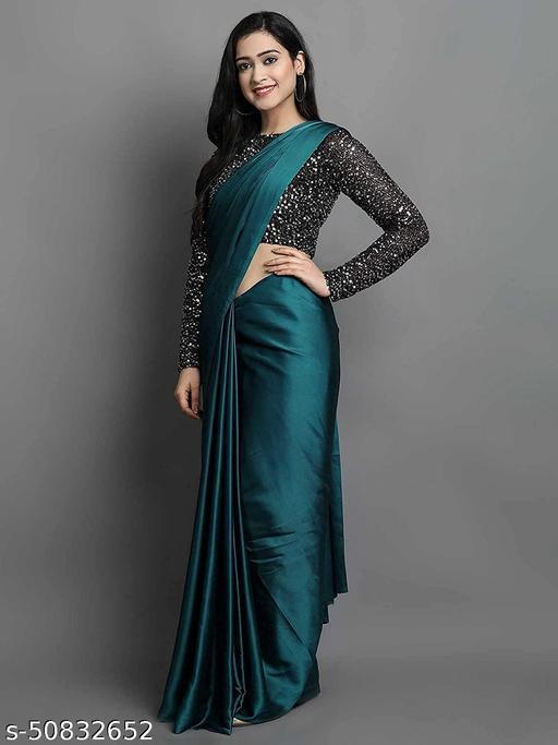 Blue Plain Bollywood Satin Blend, Silk Blend Saree