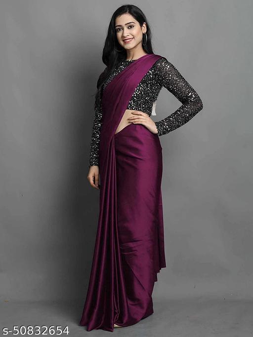 Coral Plain Bollywood Satin Blend, Silk Blend Saree
