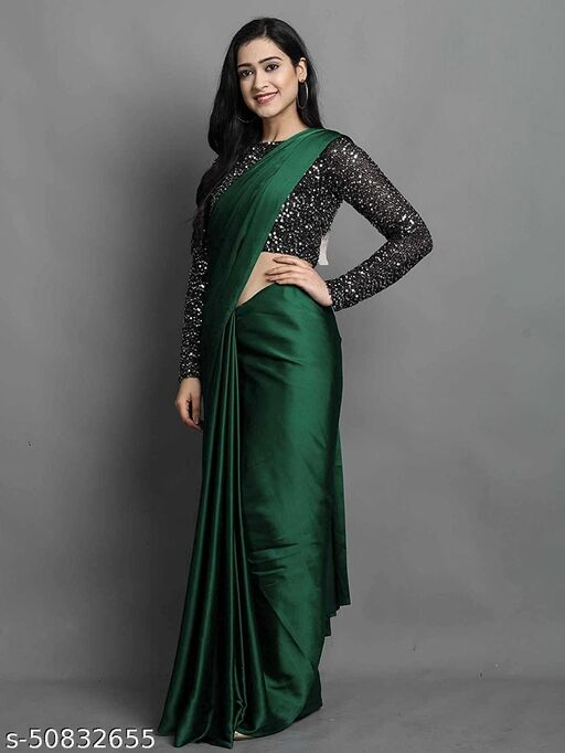 Green Plain Bollywood Satin Blend, Silk Blend Saree
