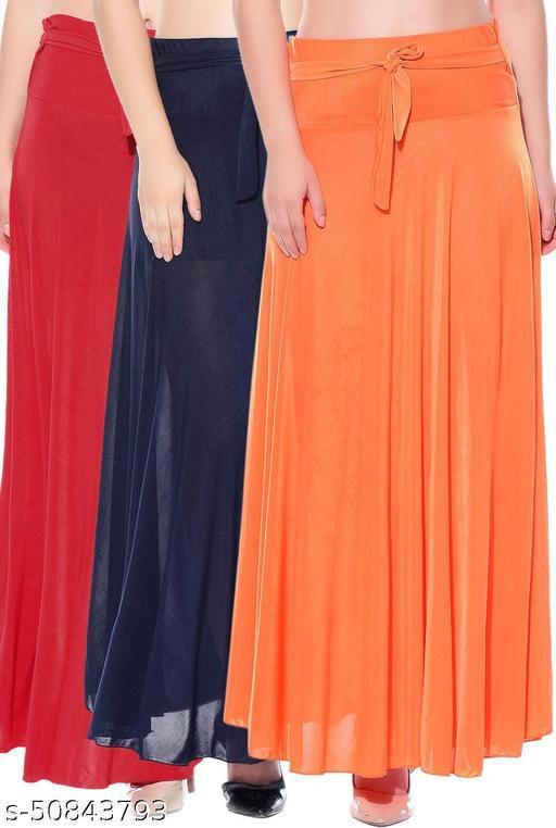Mixcult Combo of 3 Pcs Red Blue Orange Solid Crepe Full Length Flared Skirts